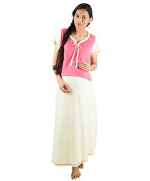 Morph Short Sleeves Maternity Nursing Gown - Pink