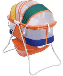 Baby Bassinet With Double Canopy Mosquito Net - Orange And Blue