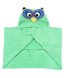 Little Bubbles Terry Hooded Bath Towel Owl Embroidered Patch - Green