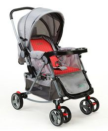 Luv Lap Baby Pram Cum Stroller 2-in-1 Anchor Print Red And Grey - C120
