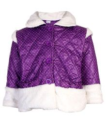 Peridot Full Sleeves Jacket Dot Print - Purple