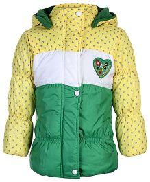 Peridot Full Sleeves Hooded Jacket Heart Patch - Green Yellow