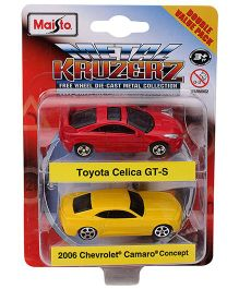 Maisto Die Cast Toyota Celica And Chevrolet Camaro Cars Pack of 2 - Red Yellow