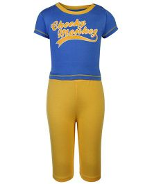 Little Kangaroos Half Sleeves Night Suit Caption Print - Blue Yellow