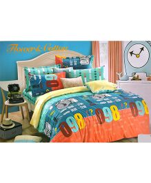 Valtellina Numeric Print Double Bed Sheet With Two Pillow Covers - Multicolour
