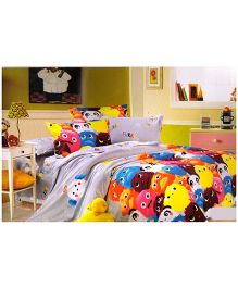 Valtellina Cartoon Print Double Bed Sheet With Two Pillow Covers - Multicolour