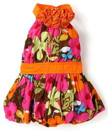 Little Kangaroos Sleeveless Frock With Floral Applique - Multi Color