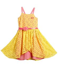 Barbie Singlet Asymmetrical Party Dress With Belt - Yellow