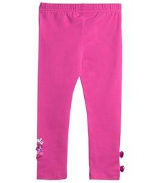 Barbie Full Length Leggings Sequin Bow - Pink