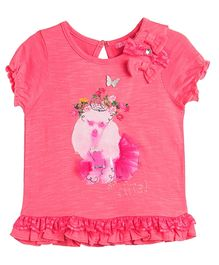 Barbie Puff Sleeves Top Bow Appliques - Pink