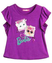 Barbie Flutter Sleeves Top Cat Print - Purple