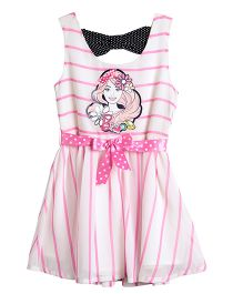 Barbie Sleeveless Party Dress Bow Applique - Pink And Cream