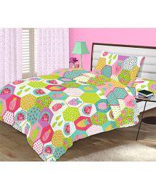 Kooki-Choo Fruity Treat Single Bed Sheet - Green And Multicolor