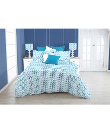 Kooki-Choo Paws Double Bed Sheet - Blue And White