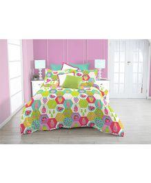 Kooki-Choo Fruity Treat Double Bed Sheet - Green And Multicolor