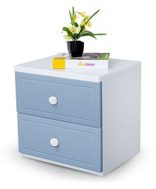 Alex Daisy Wooden Bedside Table French - Blue And White