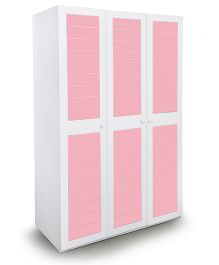 Alex Daisy Wooden Three Door Wardrobe French - White And Pink