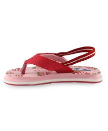 Beanz Flip Flops With Back Strap Strawberry Print - Baby Pink And Red