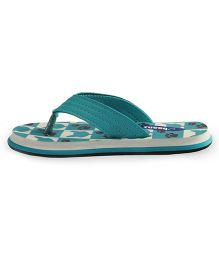 Beanz Flip Flops Splash Cat Print -  Teal Blue And White