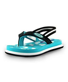 Beanz Flip Flops With Back Strap Hearts Print - Teal Blue Black And White
