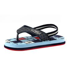 Beanz Flip Flops With Back Strap Checks - Blue And Red