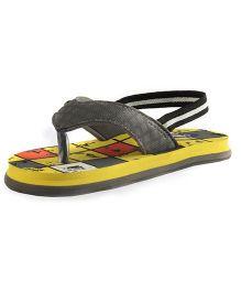 Beanz Flip Flops With Back Strap Checks - Yellow And Dark Grey