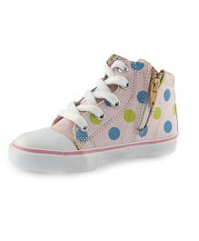 Beanz Sneakers With Zip Closure - Baby Pink And White