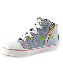 Beanz Sneakers With Zip Closure - Blue And White