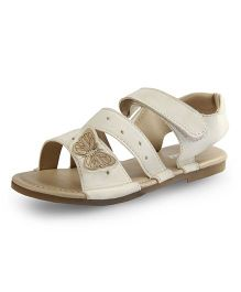 Beanz Sandals With Velcro Closure Butterfly Applique - White