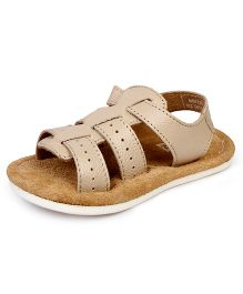 Beanz Springy Sandals With Velcro Closure - Beige