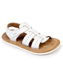 Beanz Springy Sandals With Velcro Closure - White