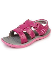 Beanz Meadow Sandals With Velcro Closure - Pink And Grey