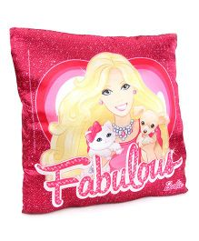Barbie Plush Cushion With Pets Print - Pink