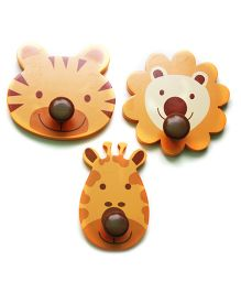 Fly Frog MDF Jungle Wall Hook Set Of 3 - Brown