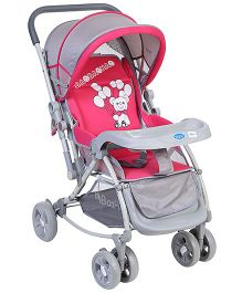 Baby Pram Cum Stroller With Canopy - Pink And Grey