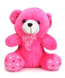 Liviya Button Teddy With Lace Bow Pink - 26 cm