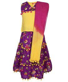 Exclusive from Jaipur Sleeveless Choli And Lehenga With Dupatta - Purple Yellow