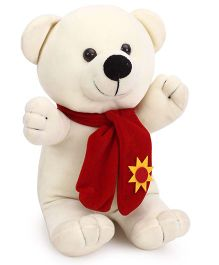 Playtoons Teddy Bear with Muffler Cream - 33 cm