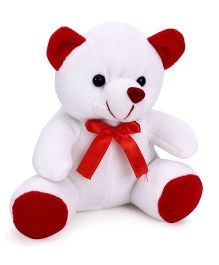 Playtoons Chubby Teddy Bear White & Red - 15 cm