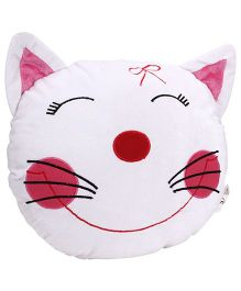 Playtoons Cat Face Cushion - White