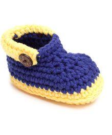Jute Baby Slip-On Handmade Crochet Booties Belt Design - Yellow And Blue
