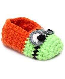 Jute Baby Slip-On Handmade Crochet Booties Eyes Design - Orange And Green
