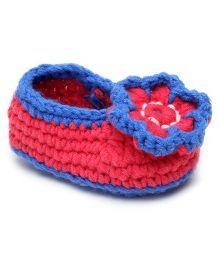 Jute Baby Slip-On Handmade Crochet Booties Floral Applique - Blue Pink