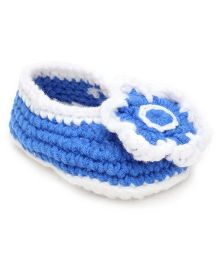 Jute Baby Slip-On Handmade Crochet Booties Floral Applique - Blue White