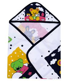 Babyhug Baby Hooded Wrapper Teddy Print - Multi Color
