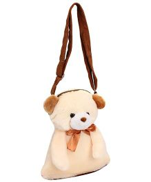 IR Shoulder Bags With Teddy Face Design - Cream