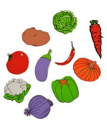 Skillofun Wooden Magnetic Cutouts Vegetables Set Of 10 - Multi Color