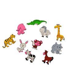 Skillofun Wooden Magnetic Cutouts Animals Set of 10 - Multi Color