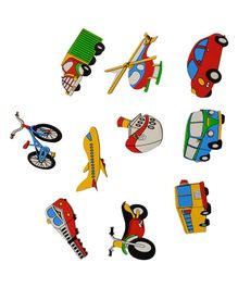 Skillofun Wooden Magnetic Cutouts Transport Set of 10 - Multi Color
