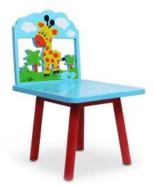 Skilloffun Wooden Chair With Giraffe Design - Blue And Red